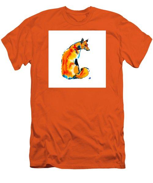 Men's T-Shirt (Athletic Fit) featuring the painting Sitting Fox by Zaira Dzhaubaeva