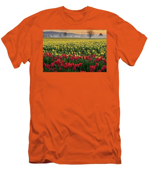 Men's T-Shirt (Slim Fit) featuring the photograph Skagit Valley Misty Morning by Dan Mihai