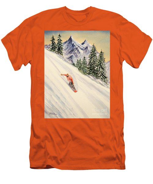 Men's T-Shirt (Athletic Fit) featuring the painting Snowboarding Free And Easy by Bill Holkham