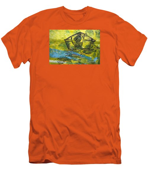 Men's T-Shirt (Slim Fit) featuring the mixed media Solitaire by Cynthia Lagoudakis