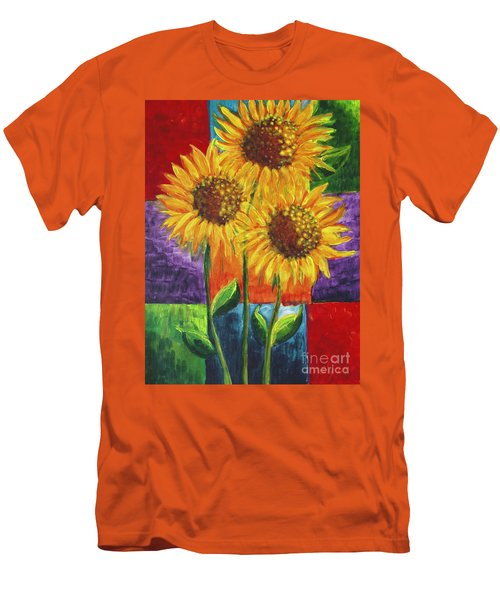 Men's T-Shirt (Slim Fit) featuring the painting Sonflowers I by Holly Carmichael