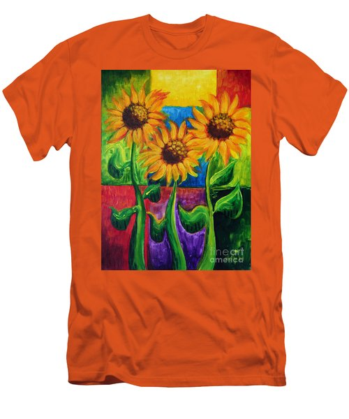 Men's T-Shirt (Slim Fit) featuring the painting Sonflowers II by Holly Carmichael