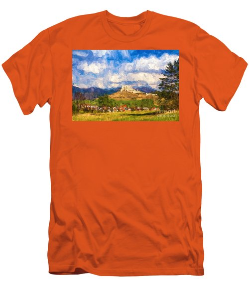 Castle Above The Village Men's T-Shirt (Slim Fit) by Les Palenik
