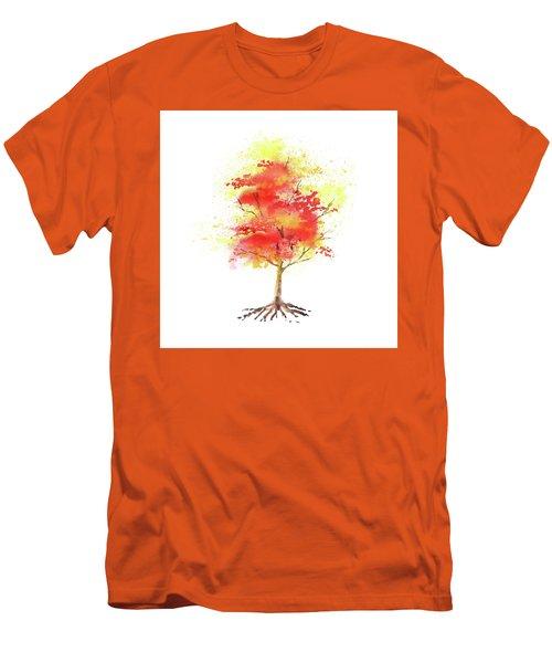 Men's T-Shirt (Athletic Fit) featuring the painting Splash Of Autumn Watercolor Tree by Irina Sztukowski