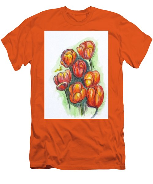 Spring Tulips Men's T-Shirt (Slim Fit) by Clyde J Kell