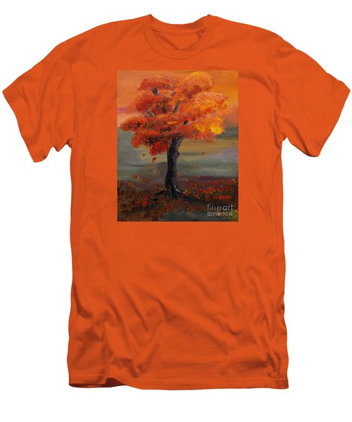Stand Alone In Color - Autumn - Tree Men's T-Shirt (Slim Fit) by Jan Dappen