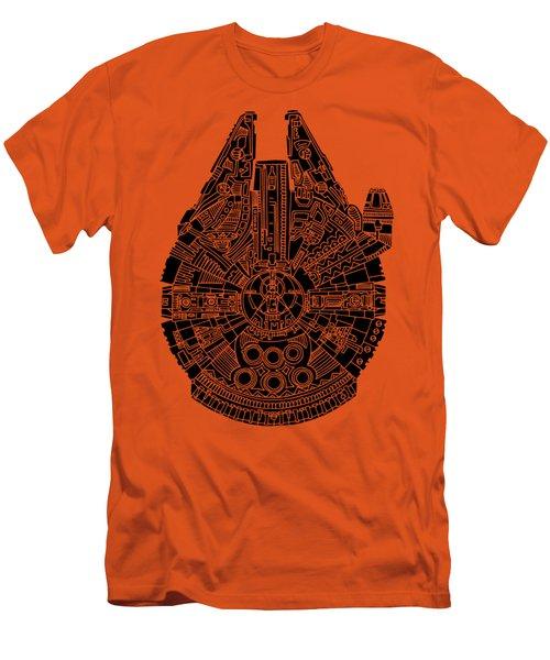 Star Wars Art - Millennium Falcon - Black Men's T-Shirt (Slim Fit) by Studio Grafiikka
