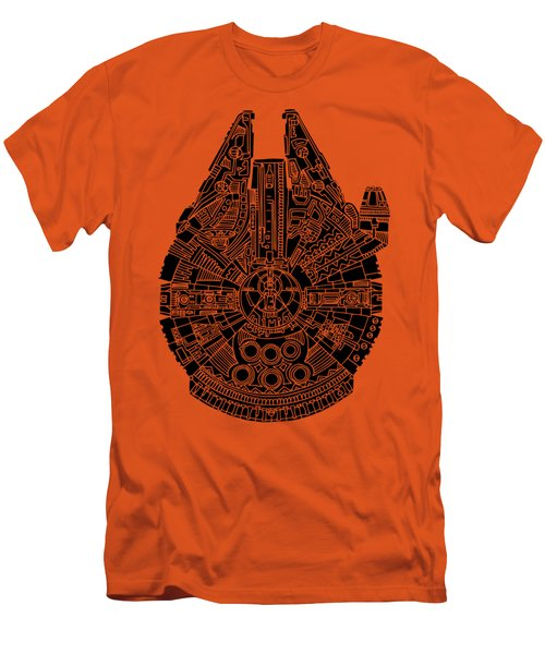 Star Wars Art - Millennium Falcon - Black Men's T-Shirt (Athletic Fit)