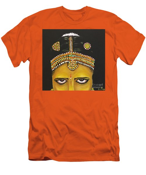 Men's T-Shirt (Slim Fit) featuring the painting Stare by Brindha Naveen