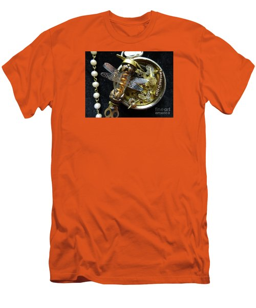 Steampunk Dragonfly Pylon Men's T-Shirt (Slim Fit) by Justin Moore