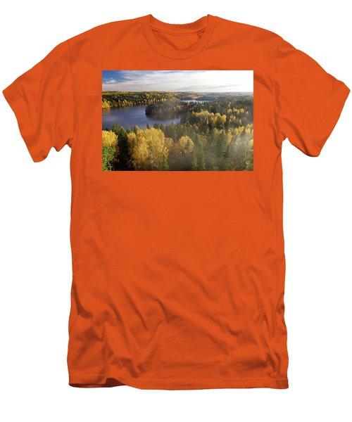 Steamy Forest Men's T-Shirt (Slim Fit) by Teemu Tretjakov