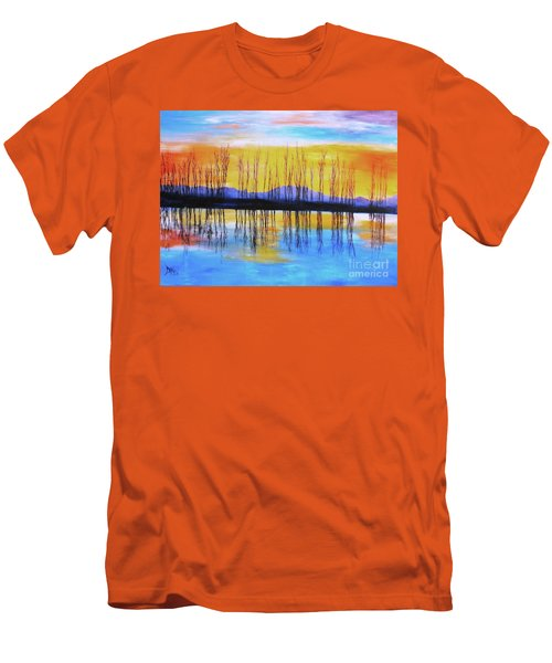 Men's T-Shirt (Slim Fit) featuring the painting Still Waters From The Water Series  by Donna Dixon
