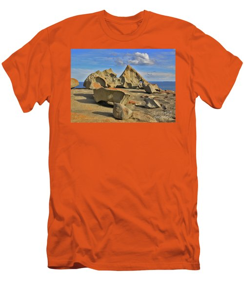 Men's T-Shirt (Slim Fit) featuring the photograph Stone Sculpture by Stephen Mitchell