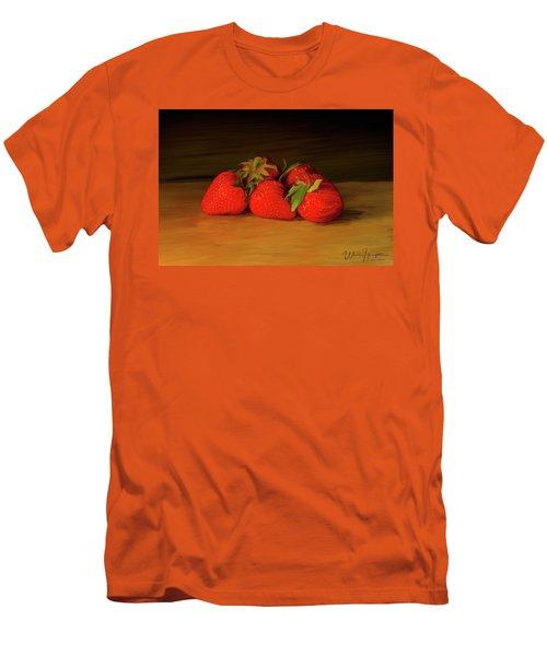 Strawberries 01 Men's T-Shirt (Slim Fit) by Wally Hampton