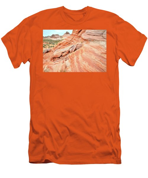Men's T-Shirt (Slim Fit) featuring the photograph Striped Sandstone Along Park Road In Valley Of Fire by Ray Mathis