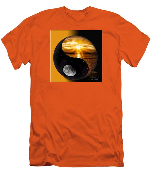 Sun And Moon - Yin And Yang Men's T-Shirt (Slim Fit) by Shirley Mangini