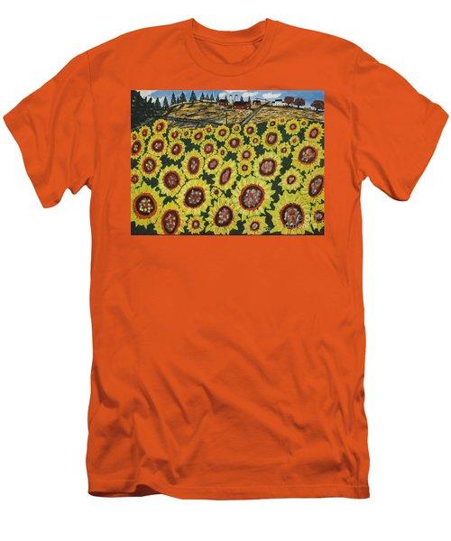 Sunflower Fields  Forever Men's T-Shirt (Slim Fit) by Jeffrey Koss