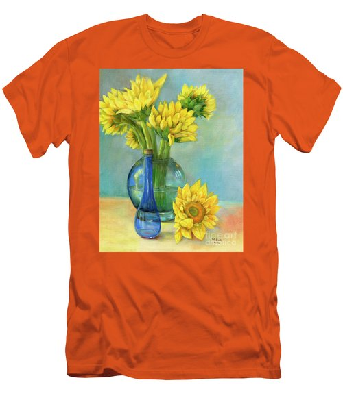 Men's T-Shirt (Athletic Fit) featuring the painting Sunflowers In A Glass Vase Number Two by Marlene Book