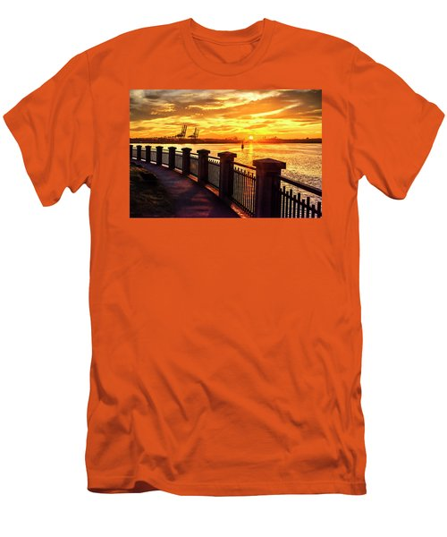 Men's T-Shirt (Athletic Fit) featuring the photograph Sunrise At The Harbor by John Poon
