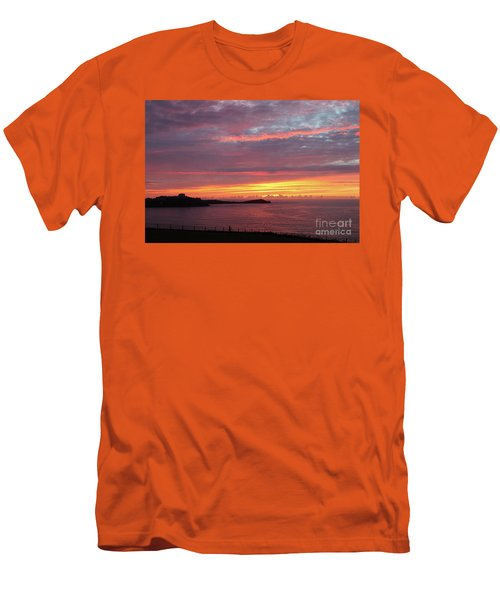 Men's T-Shirt (Slim Fit) featuring the photograph Sunset Clouds In Newquay Cornwall by Nicholas Burningham