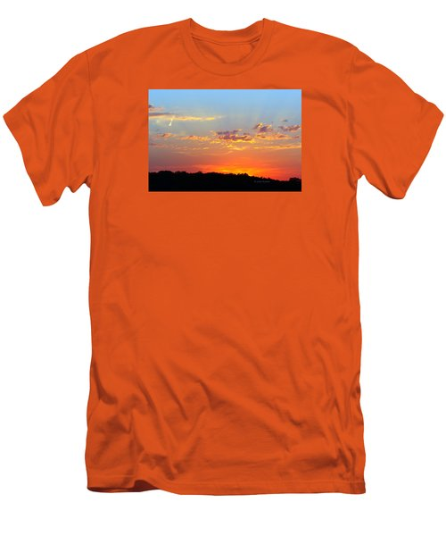 Sunset Glory Orange Blue Men's T-Shirt (Slim Fit) by Jana Russon
