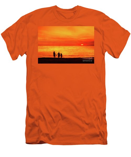 Sunset On The Beach Men's T-Shirt (Slim Fit) by Randy Steele