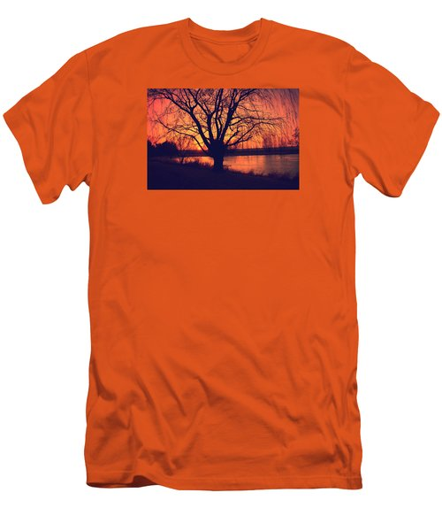 Sunset On Willow Pond Men's T-Shirt (Slim Fit) by Kathy M Krause