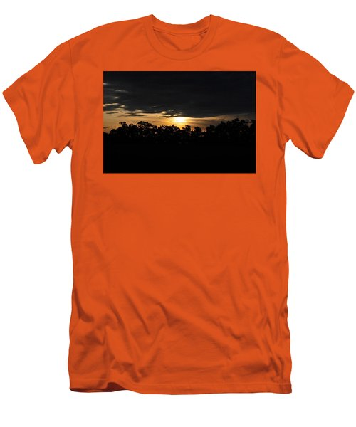 Sunset Over Farm And Trees - Silhouette View  Men's T-Shirt (Athletic Fit)