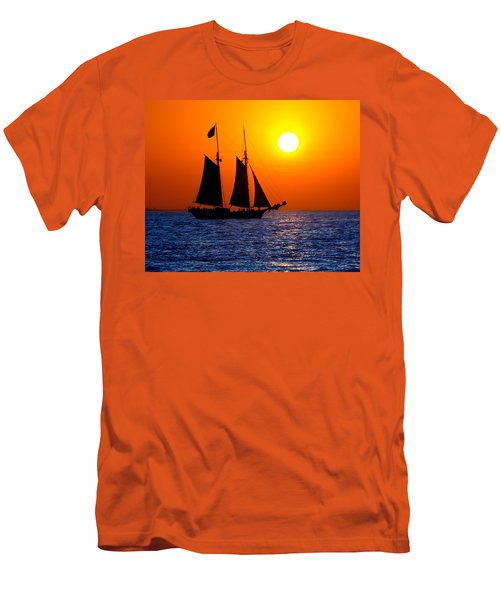 Sunset Sailing In Key West Florida Men's T-Shirt (Slim Fit) by Michael Bessler