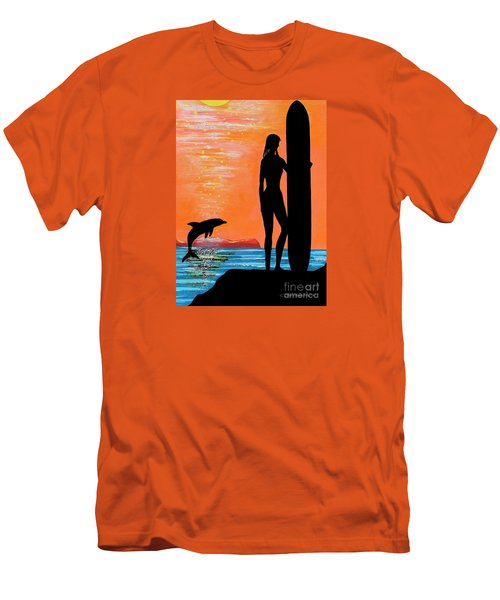 Surfer Girl With Dolphin Men's T-Shirt (Athletic Fit)