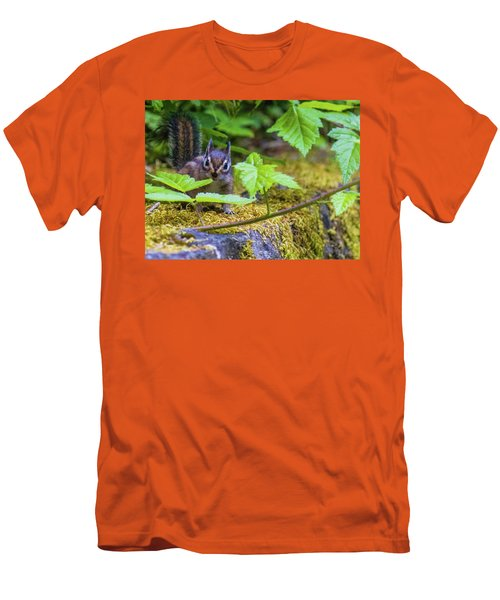 Men's T-Shirt (Athletic Fit) featuring the photograph Surprised Chipmunk by Jonny D