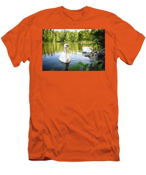 Swans With Chicks Men's T-Shirt (Slim Fit) by Teemu Tretjakov
