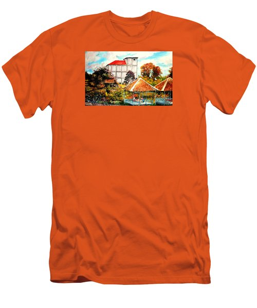 Men's T-Shirt (Slim Fit) featuring the painting Swifts  Nest's Building by Jason Sentuf