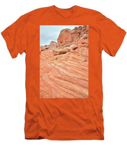 Men's T-Shirt (Slim Fit) featuring the photograph Swirling Sandstone Color In Valley Of Fire by Ray Mathis