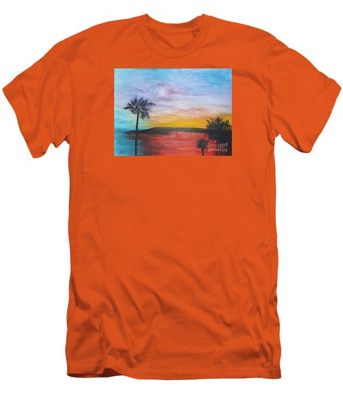 Men's T-Shirt (Slim Fit) featuring the painting Table On The Beach From The Water Series by Donna Dixon