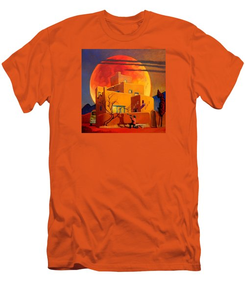 Men's T-Shirt (Slim Fit) featuring the painting Taos Wolf Moon by Art West