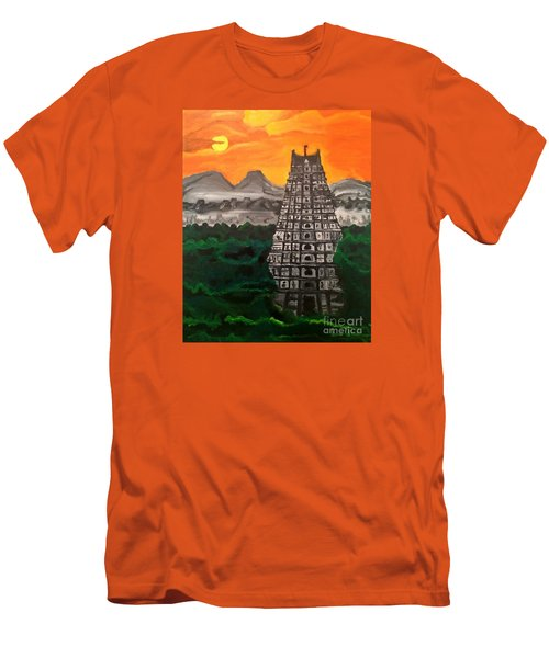 Men's T-Shirt (Slim Fit) featuring the painting Temple Near The Hills by Brindha Naveen