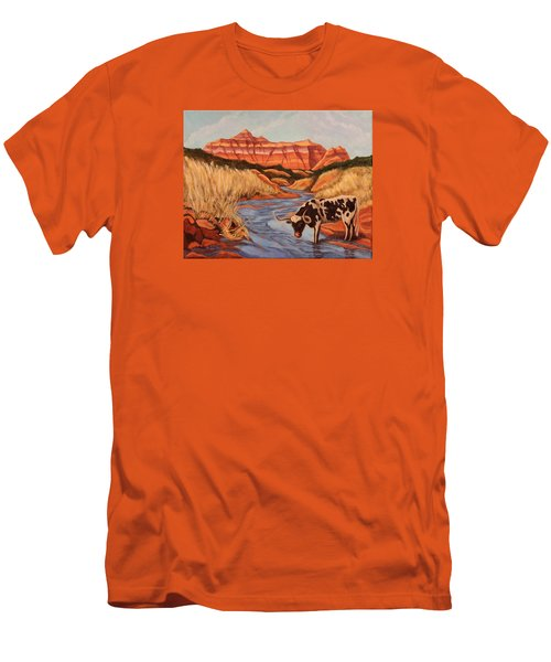 Texas Longhorn In Palo Duro Canyon Men's T-Shirt (Athletic Fit)
