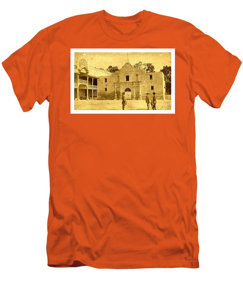 Men's T-Shirt (Athletic Fit) featuring the photograph The Alamo San Antonio Texas Circa 1880 Albumen Photograph by Peter Gumaer Ogden