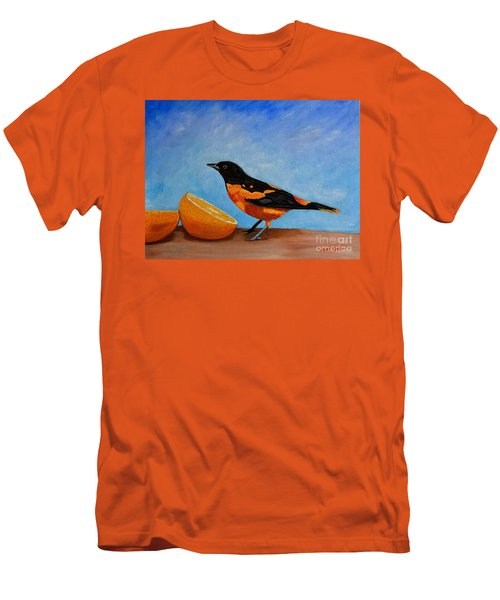 Men's T-Shirt (Slim Fit) featuring the painting The Bird And Orange by Laura Forde