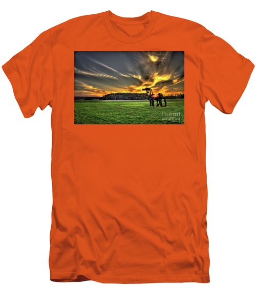 Men's T-Shirt (Athletic Fit) featuring the photograph The Iron Horse Sunset by Reid Callaway