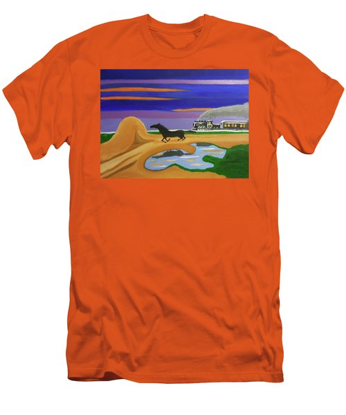 Men's T-Shirt (Slim Fit) featuring the painting The Night Race by Margaret Harmon