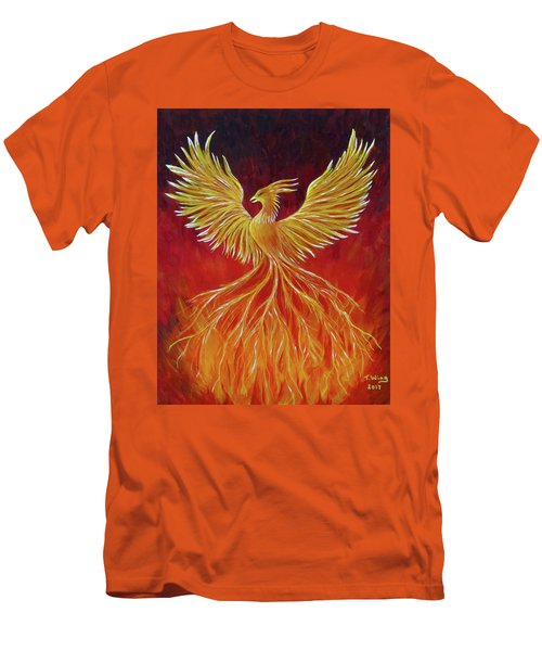 Men's T-Shirt (Slim Fit) featuring the painting The Phoenix by Teresa Wing
