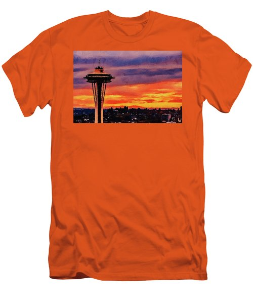 Men's T-Shirt (Athletic Fit) featuring the digital art The Space Needle by PixBreak Art
