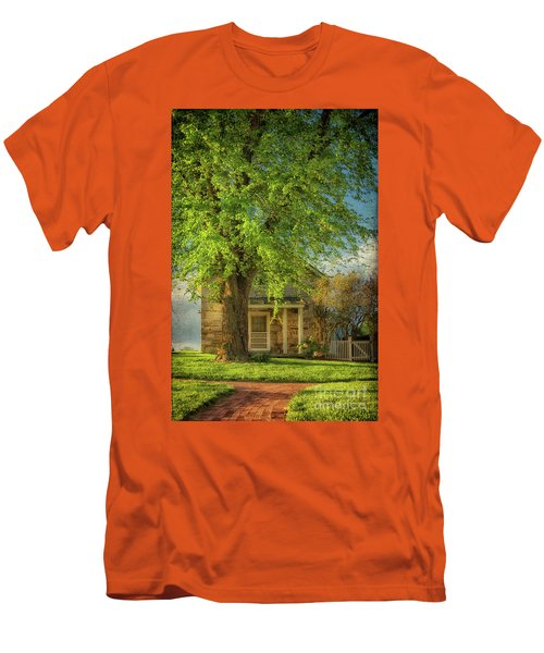 Men's T-Shirt (Athletic Fit) featuring the photograph The Stone Cottage On A Spring Evening by Lois Bryan