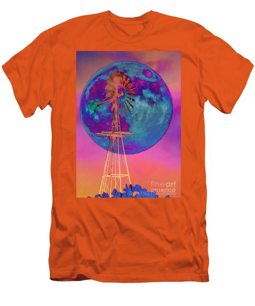 The Windmill And Moon In A Sherbet Sky Men's T-Shirt (Slim Fit) by Toma Caul