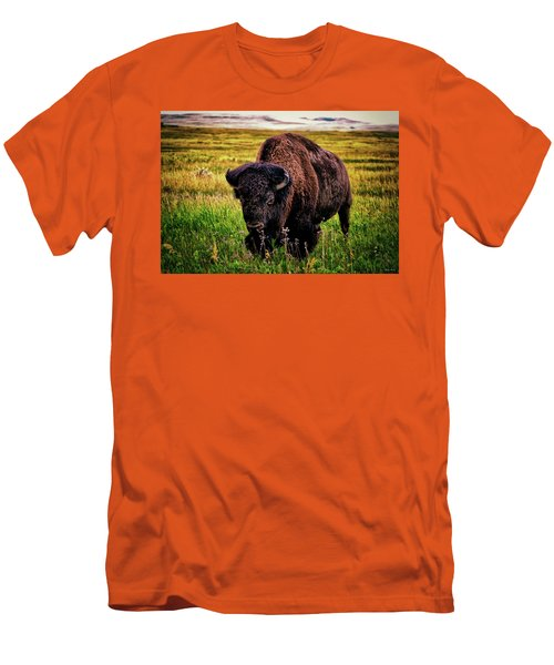 Men's T-Shirt (Slim Fit) featuring the photograph Theodore Roosevelt National Park 009 - Buffalo by George Bostian