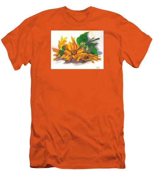 Men's T-Shirt (Slim Fit) featuring the painting Three Sunflowers by Susan Thomas