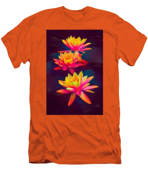 Men's T-Shirt (Athletic Fit) featuring the photograph Three Waterlilies by Chris Lord