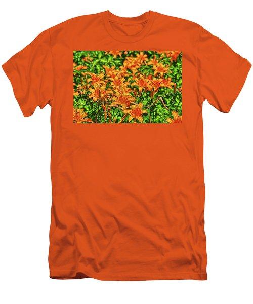 Tiger Lilies Men's T-Shirt (Slim Fit) by Pat Cook